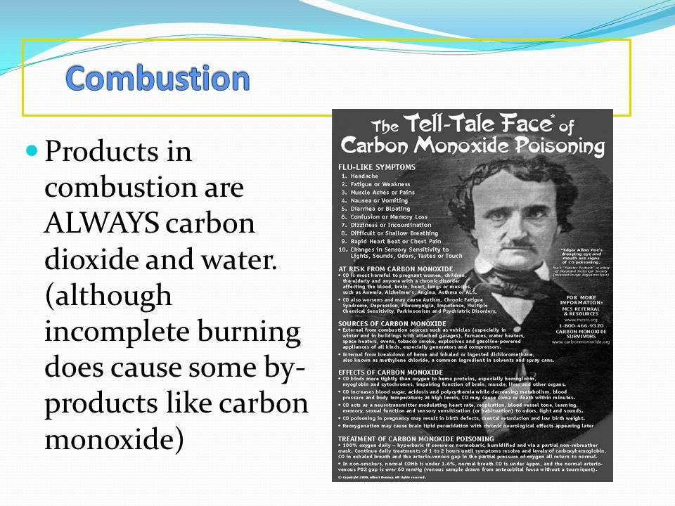 Combustion Products in combustion are ALWAYS carbon dioxide and water.