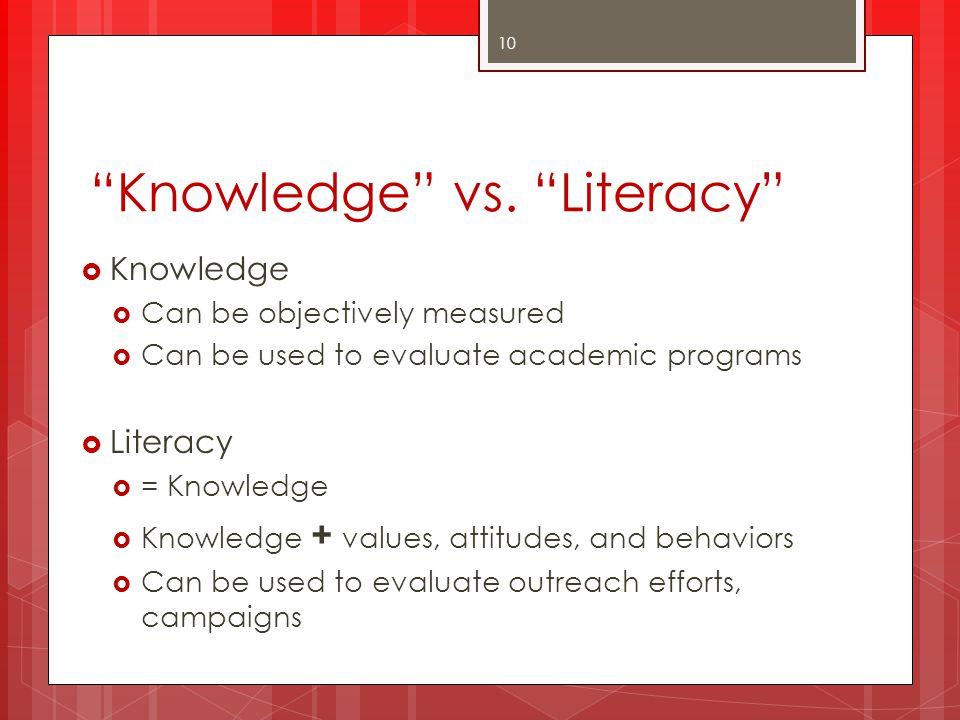 Knowledge vs. Literacy
