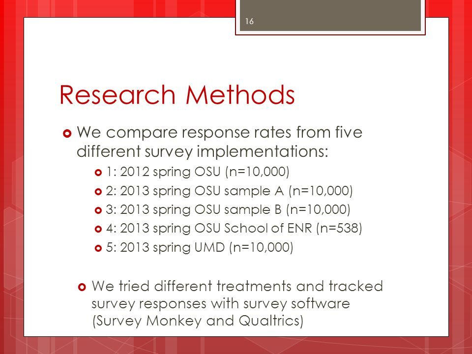 Research Methods We compare response rates from five different survey implementations: 1: 2012 spring OSU (n=10,000)
