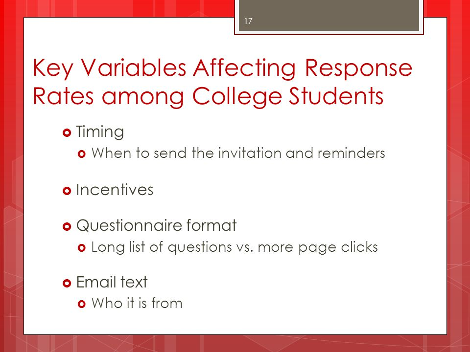 Key Variables Affecting Response Rates among College Students
