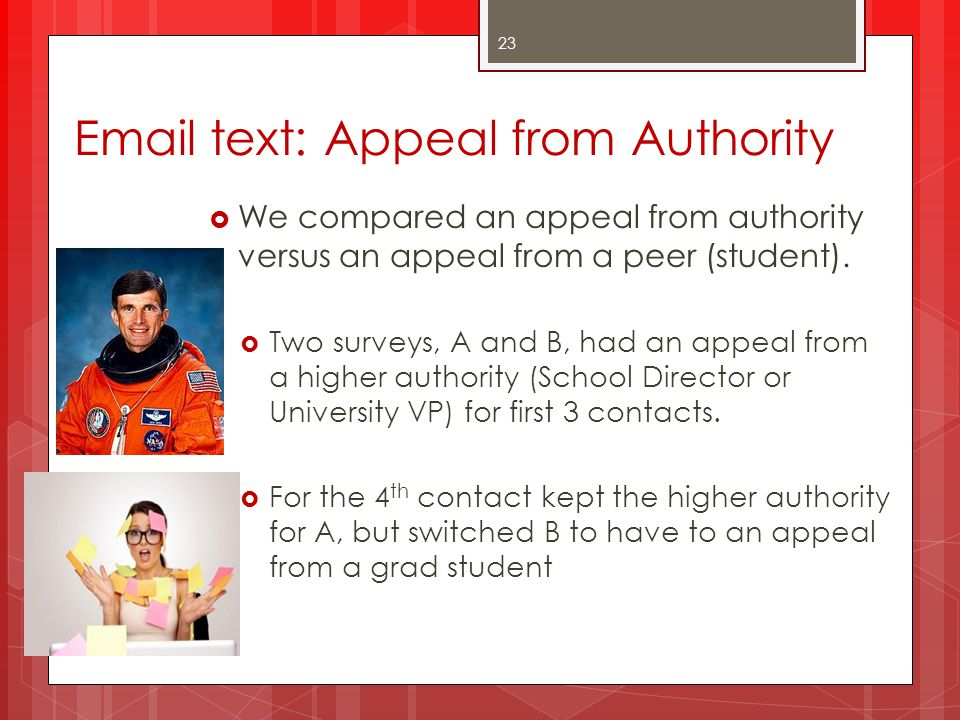 Email text: Appeal from Authority