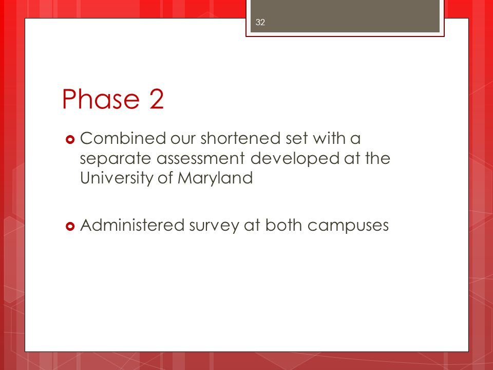 Phase 2 Combined our shortened set with a separate assessment developed at the University of Maryland.