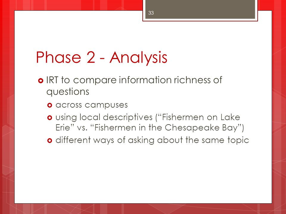 Phase 2 - Analysis IRT to compare information richness of questions