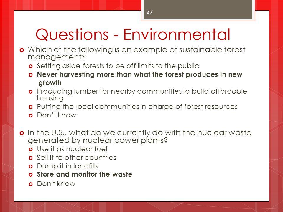 Questions - Environmental