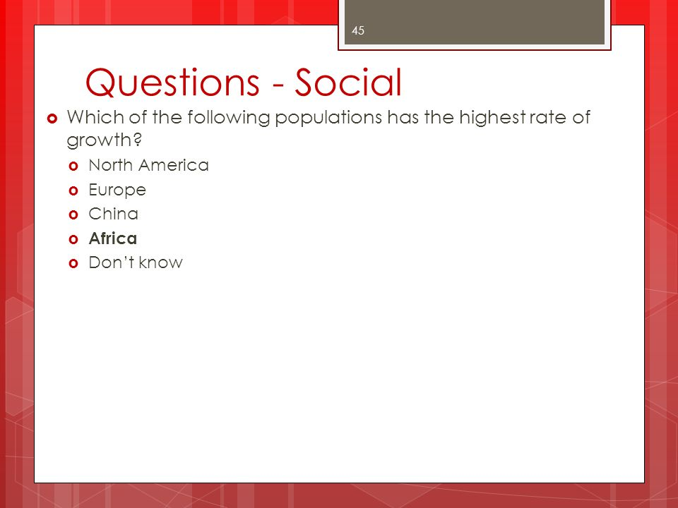 Questions - Social Which of the following populations has the highest rate of growth North America.