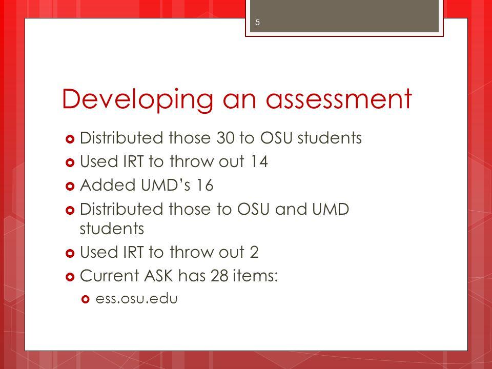 Developing an assessment