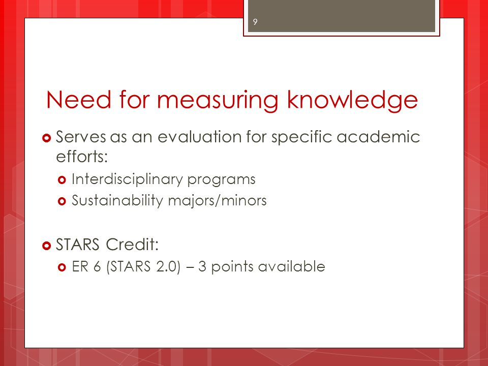 Need for measuring knowledge