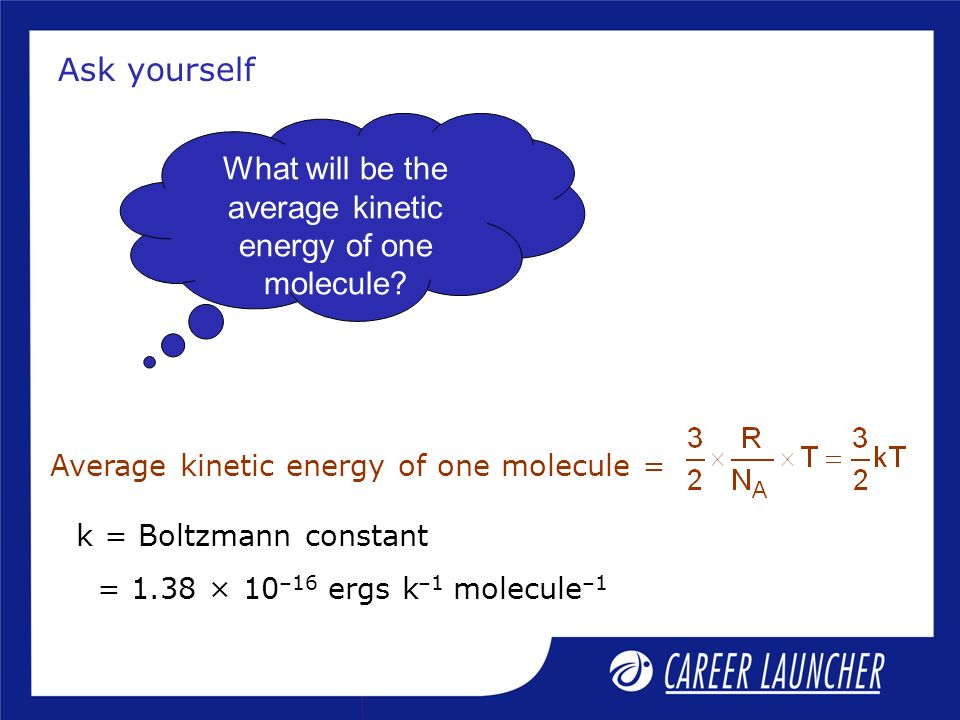 What will be the average kinetic energy of one molecule