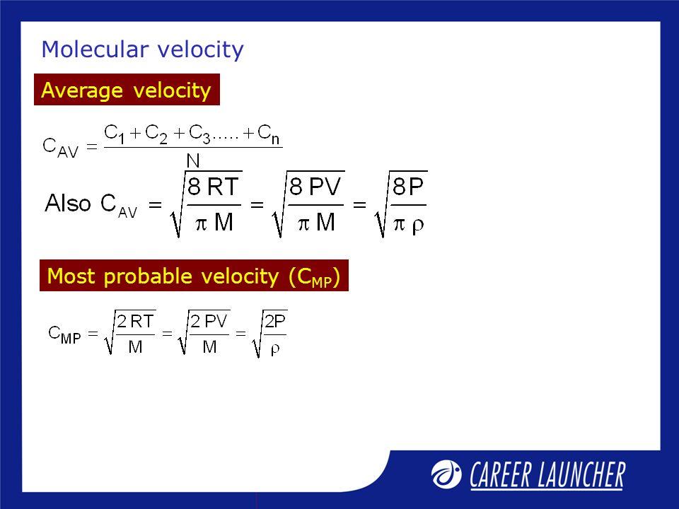 Molecular velocity Average velocity Most probable velocity (CMP)