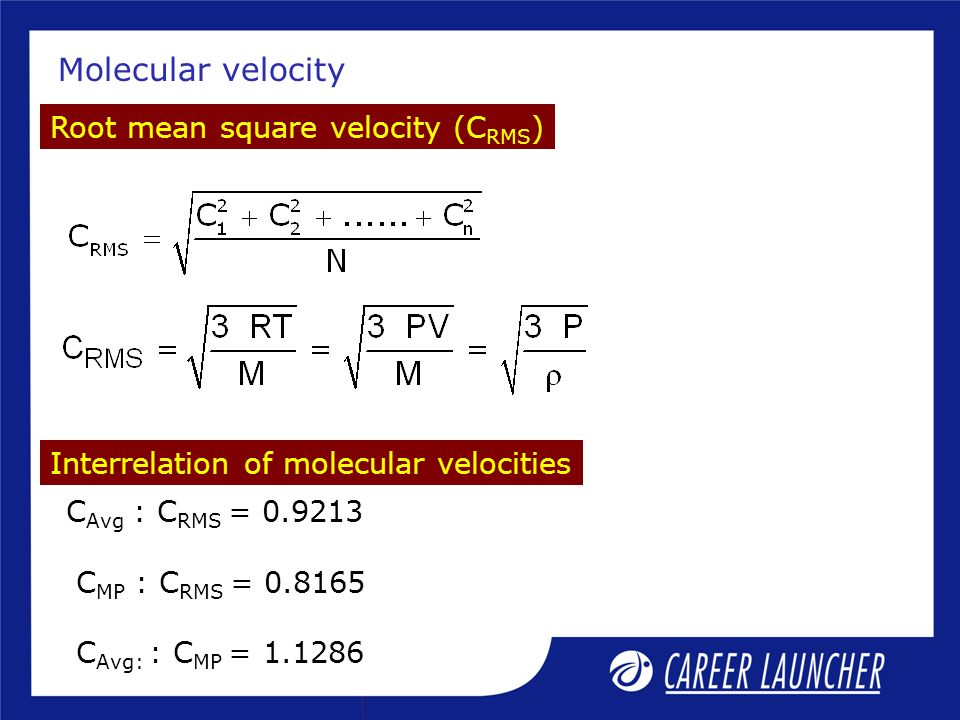 Molecular velocity Root mean square velocity (CRMS)