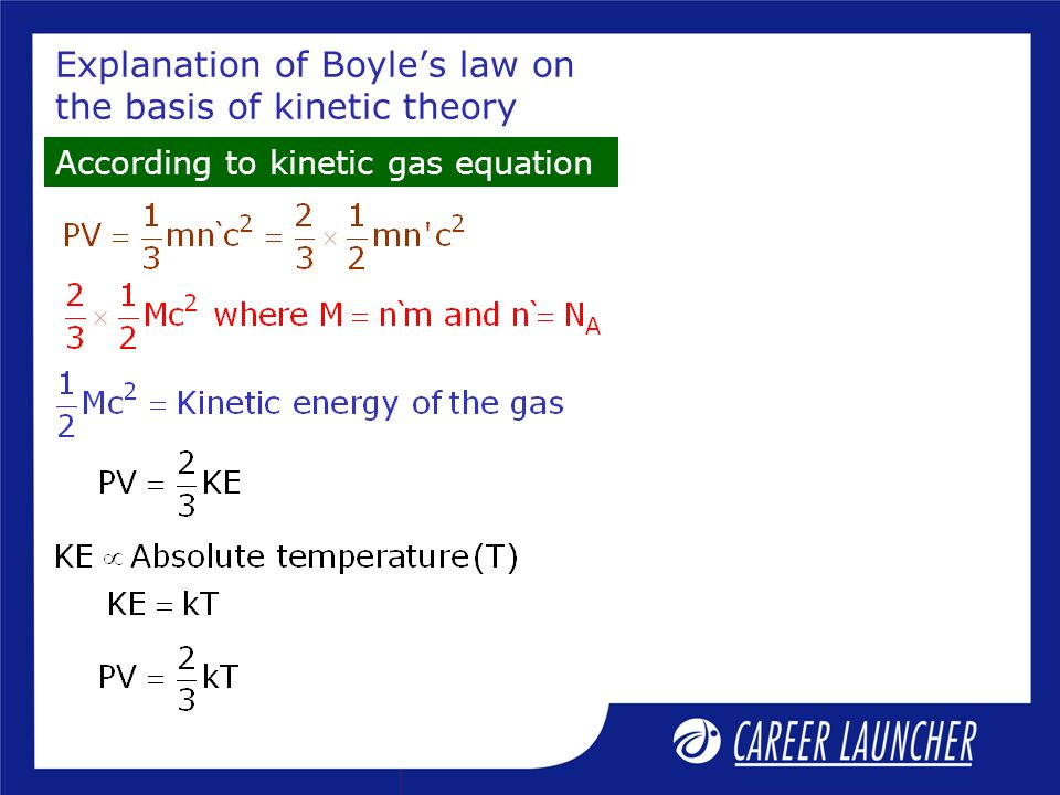 Explanation of Boyle's law on the basis of kinetic theory