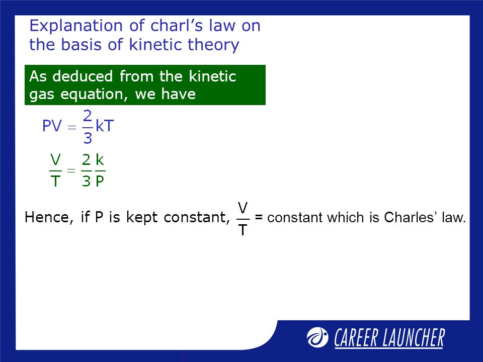Explanation of charl's law on the basis of kinetic theory