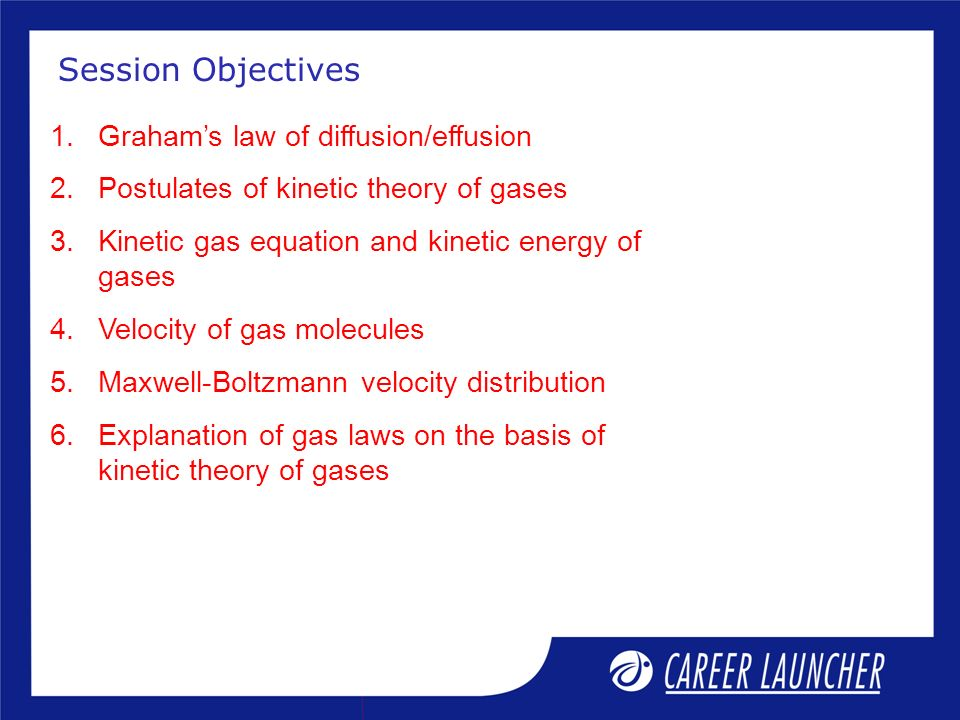 Session Objectives Graham's law of diffusion/effusion