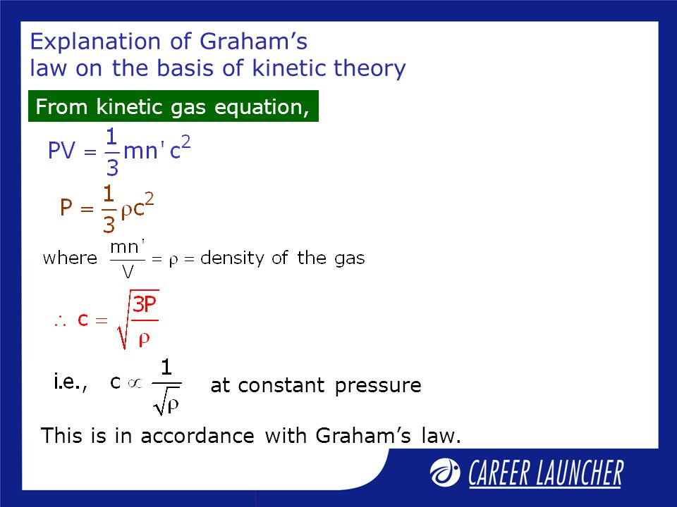 Explanation of Graham's law on the basis of kinetic theory