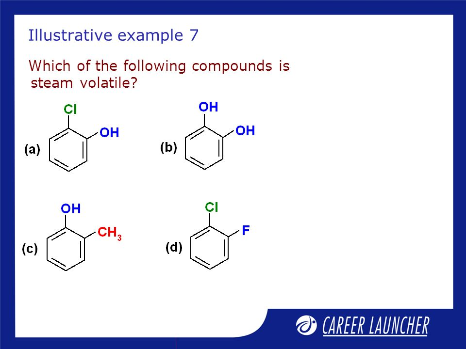 Illustrative example 7 Which of the following compounds is steam volatile