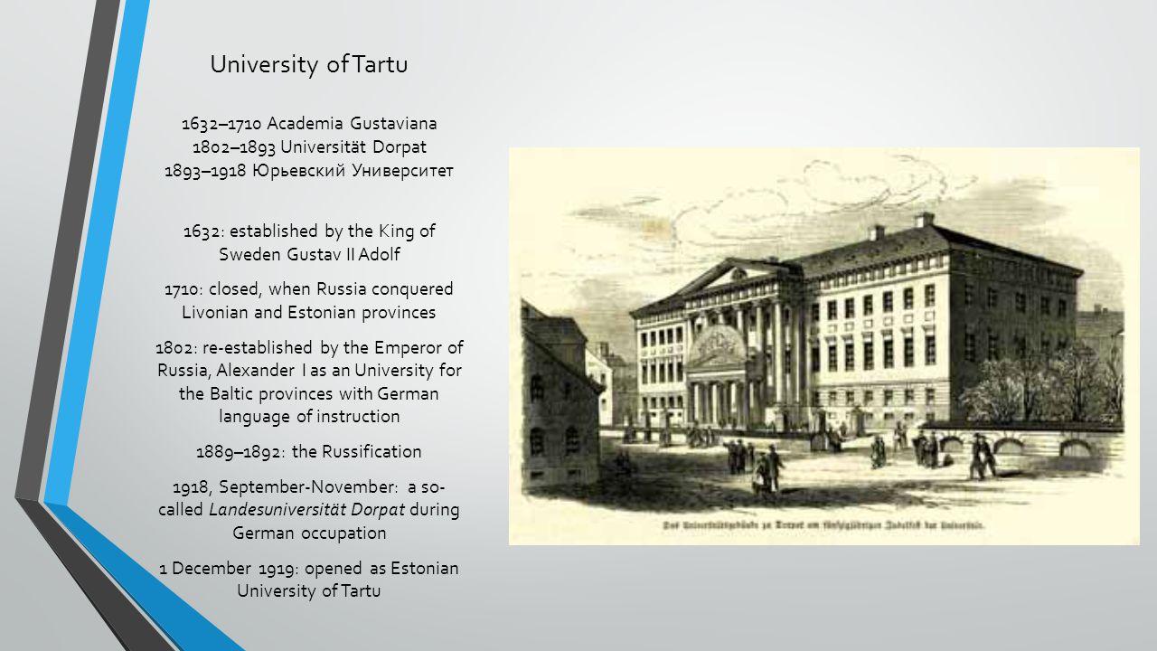 University of Tartu 1632–1710 Academia Gustaviana 1802–1893 Universität Dorpat 1893–1918 Юрьевский Университет