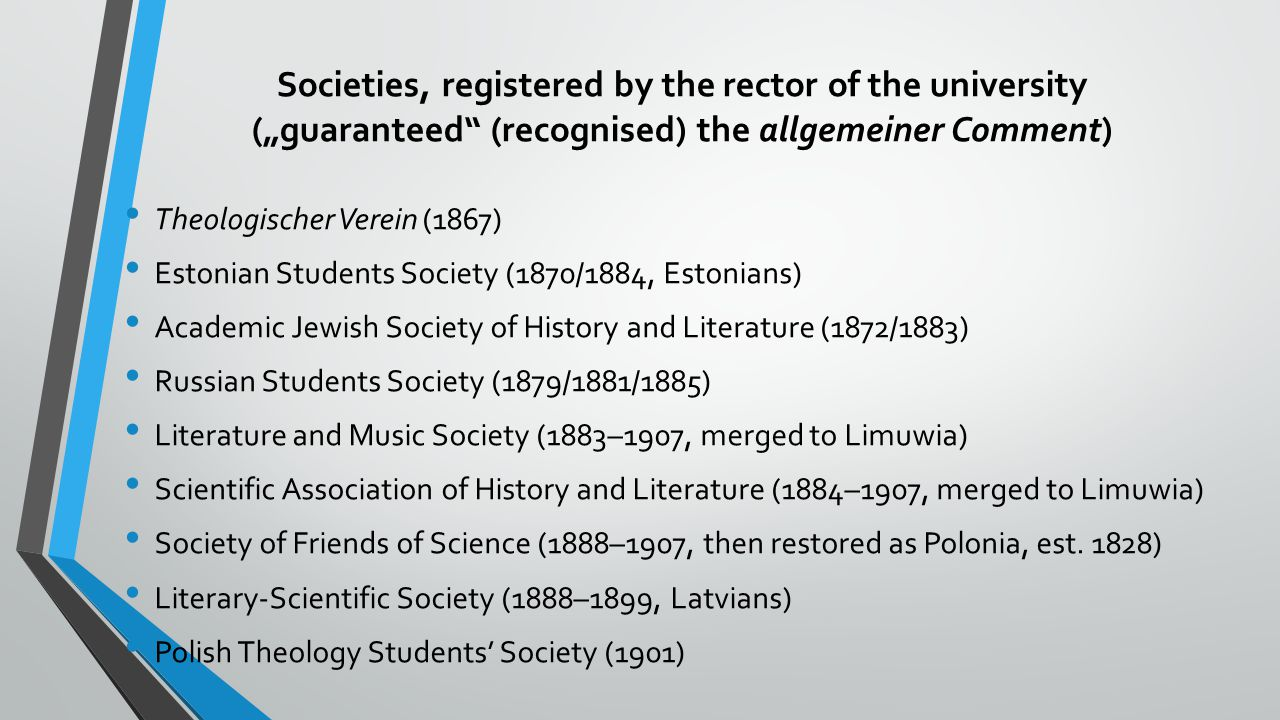 "Societies, registered by the rector of the university (""guaranteed (recognised) the allgemeiner Comment)"