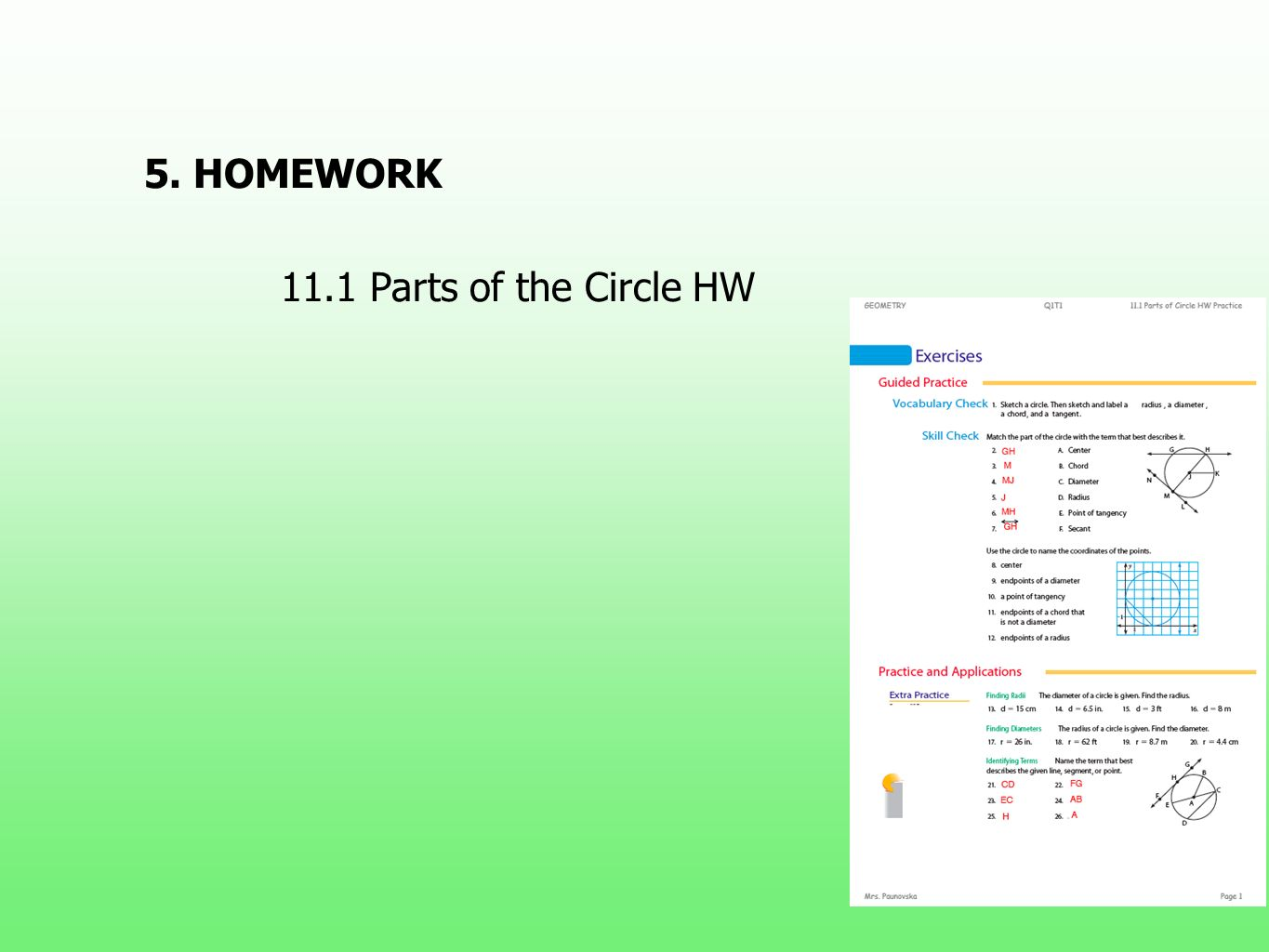 5. HOMEWORK 11.1 Parts of the Circle HW