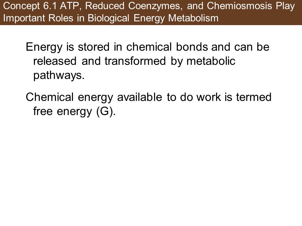 Chemical energy available to do work is termed free energy (G).