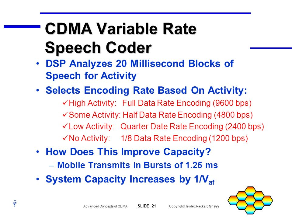 CDMA Variable Rate Speech Coder