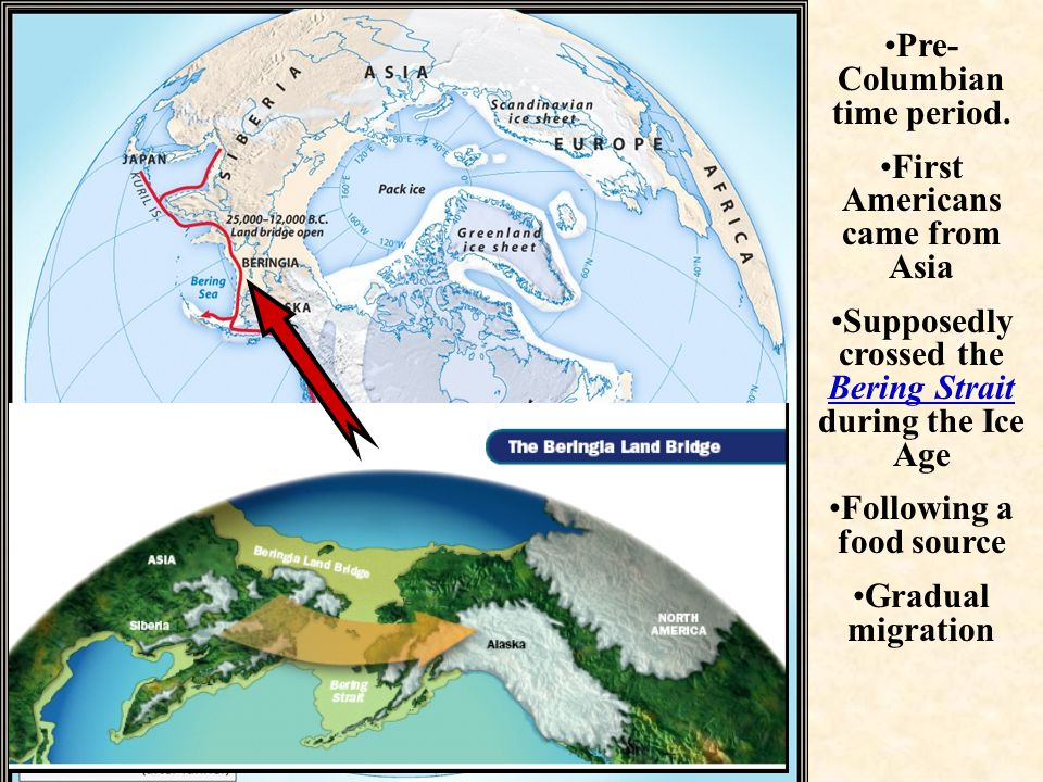 Pre-Columbian time period. First Americans came from Asia