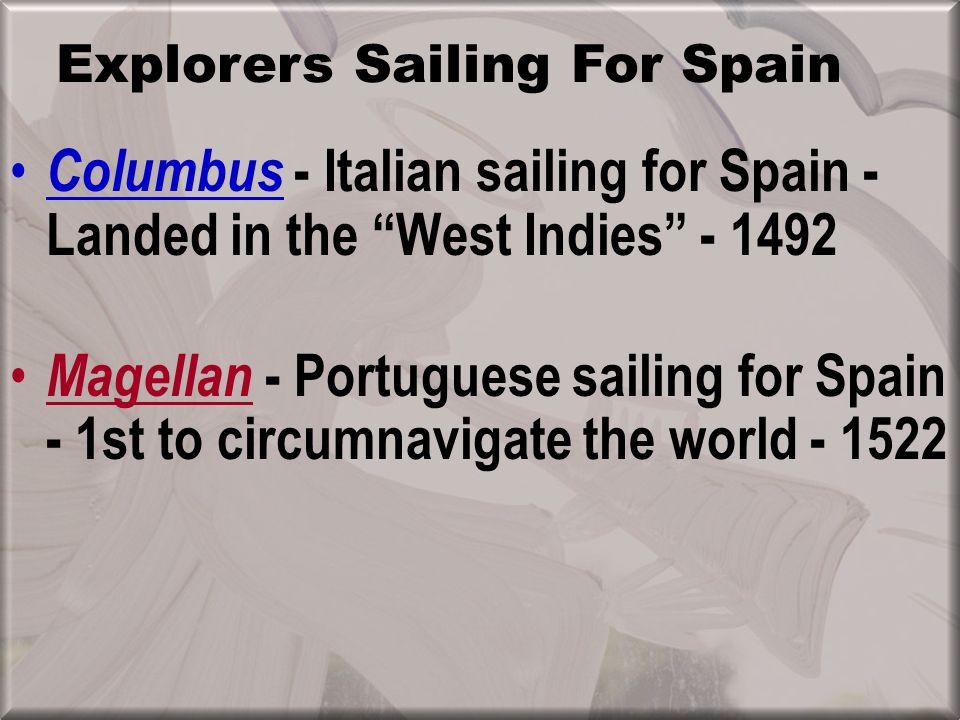 Explorers Sailing For Spain
