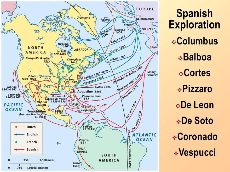 Spanish Exploration Columbus Balboa Cortes Pizzaro De Leon De Soto