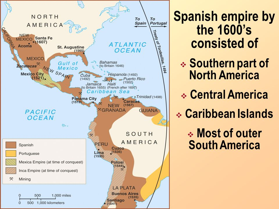 Spanish empire by the 1600's consisted of