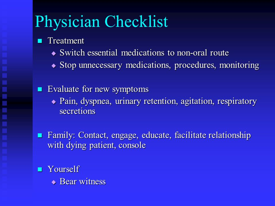 Physician Checklist Treatment