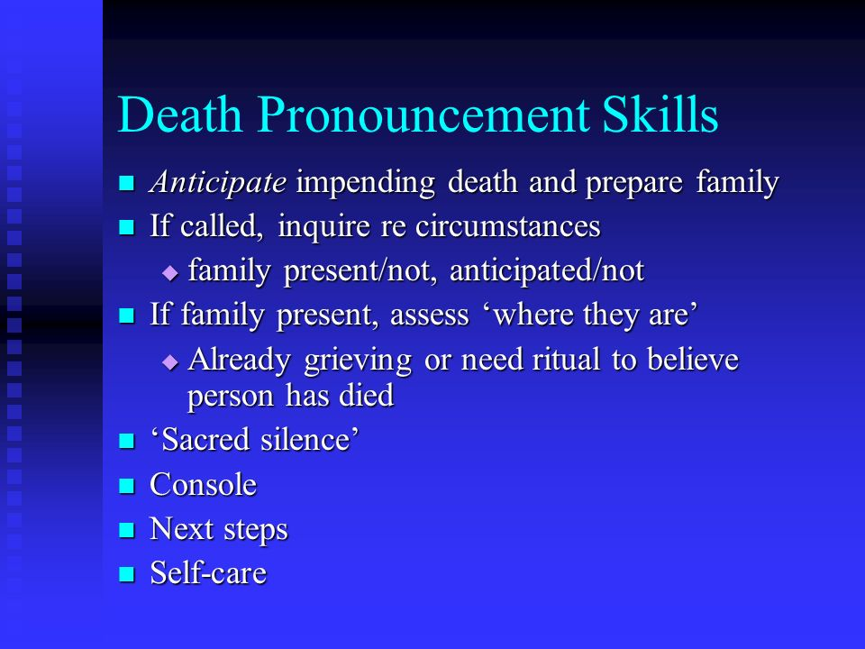Death Pronouncement Skills