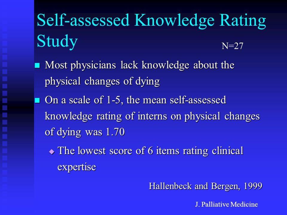 Self-assessed Knowledge Rating Study