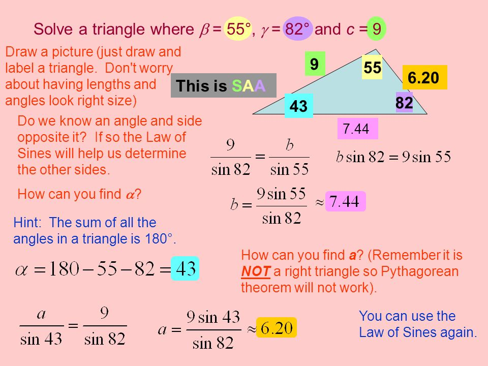 Solve a triangle where  = 55°,  = 82° and c = 9