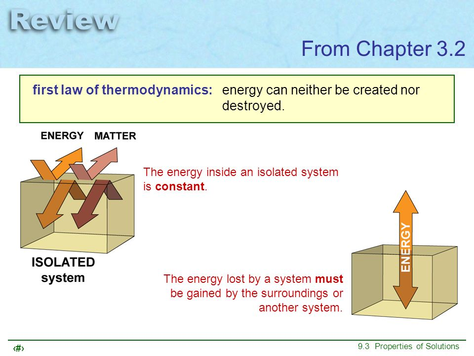 From Chapter 3.2 first law of thermodynamics: energy can neither be created nor destroyed. The energy inside an isolated system is constant.