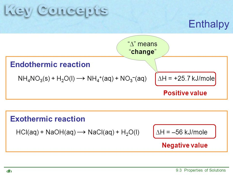 Enthalpy Endothermic reaction Exothermic reaction ∆ means change