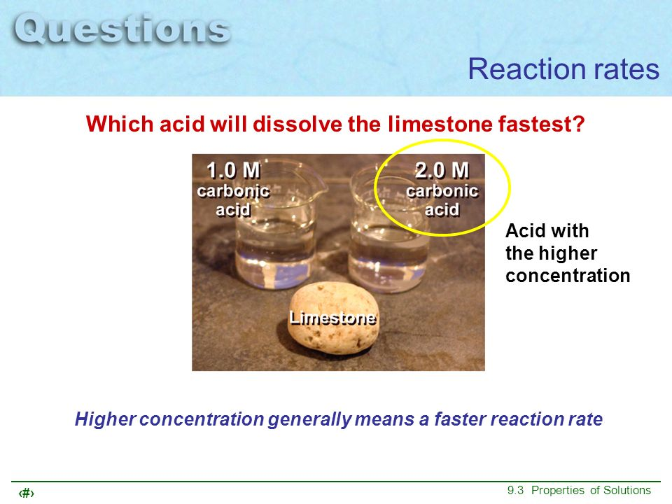 Reaction rates Which acid will dissolve the limestone fastest