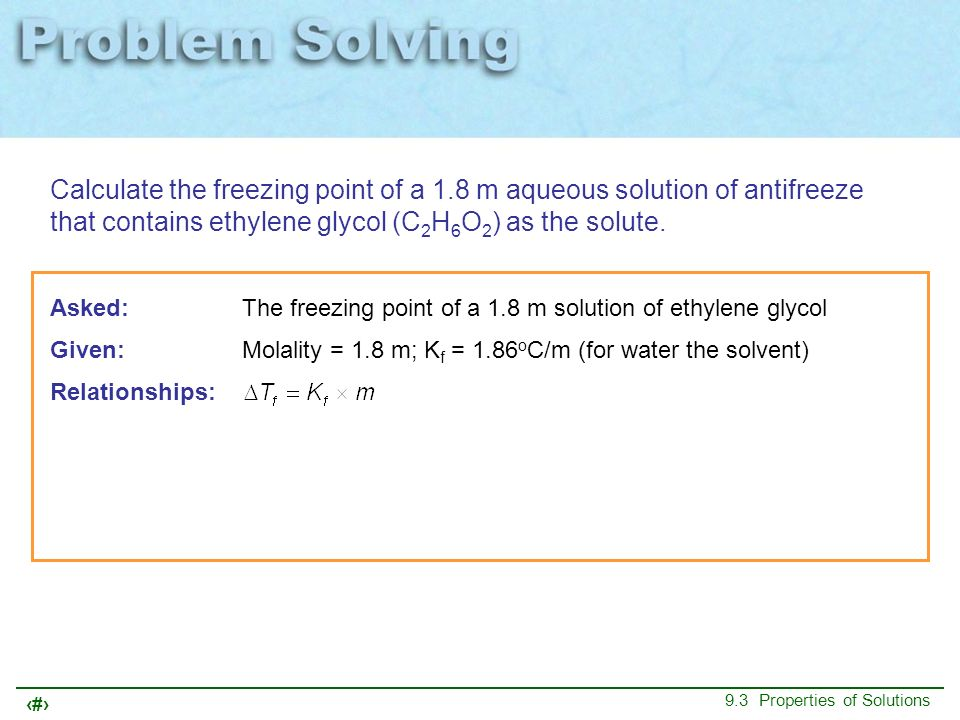 Calculate the freezing point of a 1