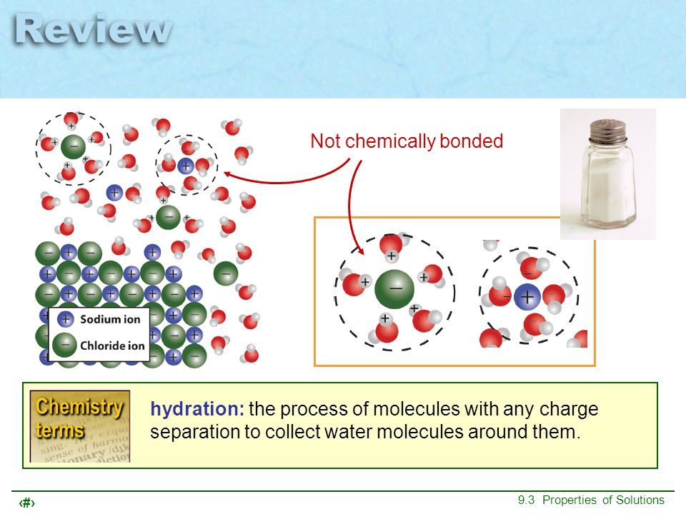 Not chemically bonded hydration: the process of molecules with any charge separation to collect water molecules around them.