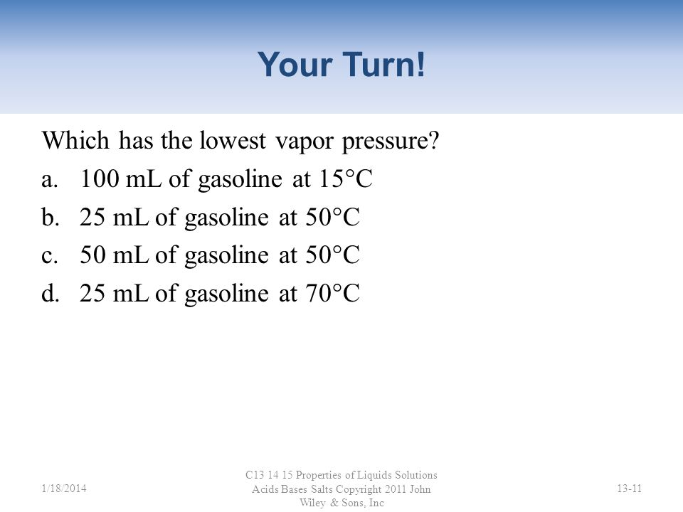 Your Turn! Which has the lowest vapor pressure