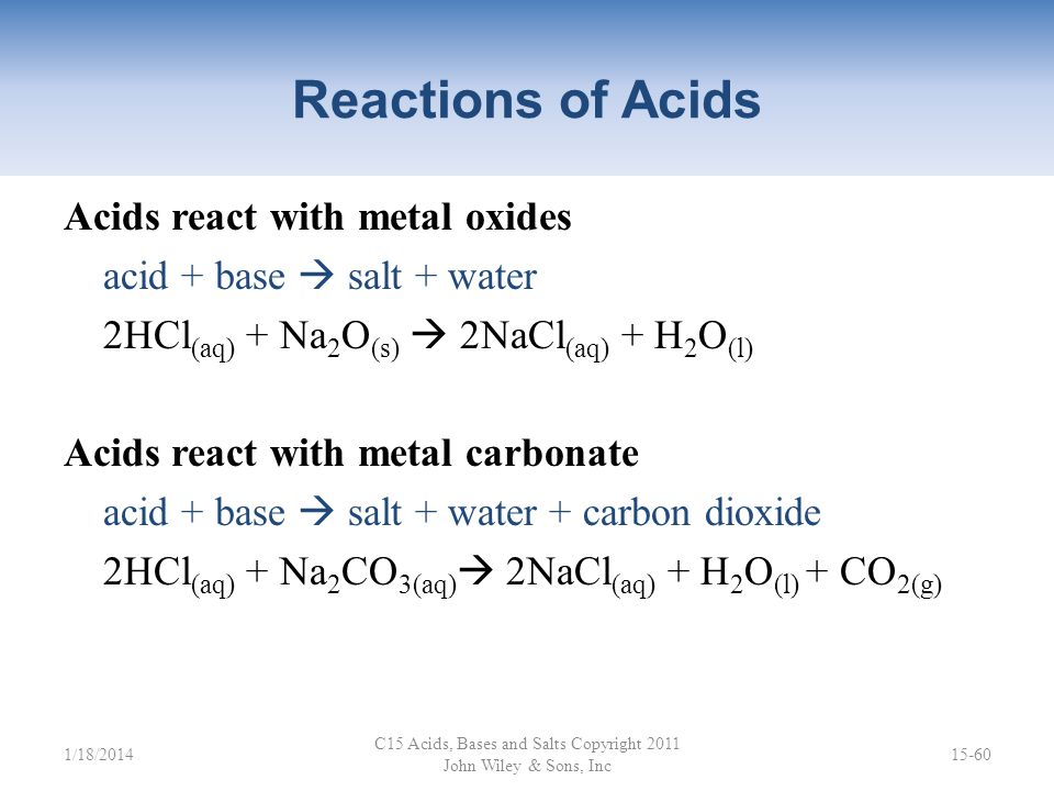 C15 Acids, Bases and Salts Copyright 2011 John Wiley & Sons, Inc