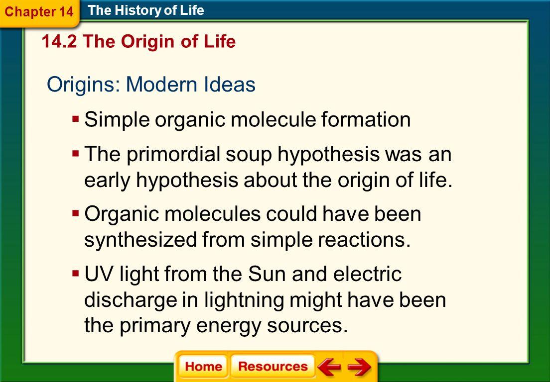 Simple organic molecule formation