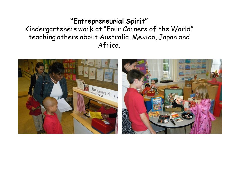 Entrepreneurial Spirit Kindergarteners work at Four Corners of the World teaching others about Australia, Mexico, Japan and Africa.