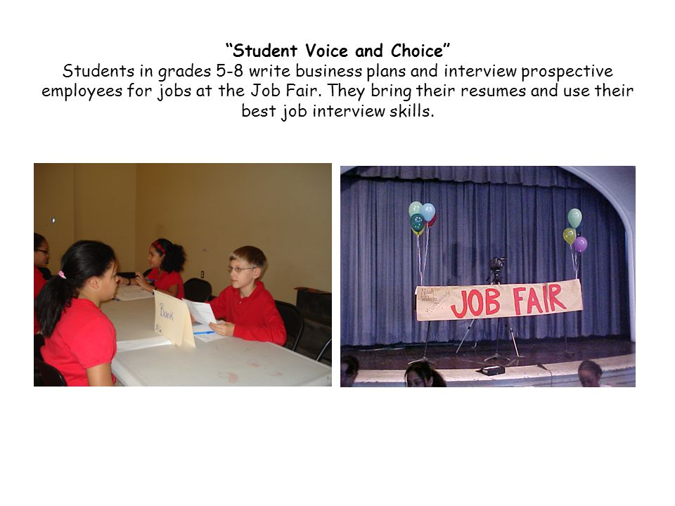 Student Voice and Choice Students in grades 5-8 write business plans and interview prospective employees for jobs at the Job Fair.