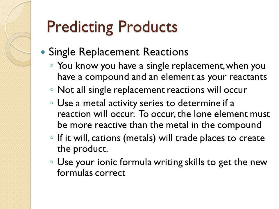 Predicting Products Single Replacement Reactions