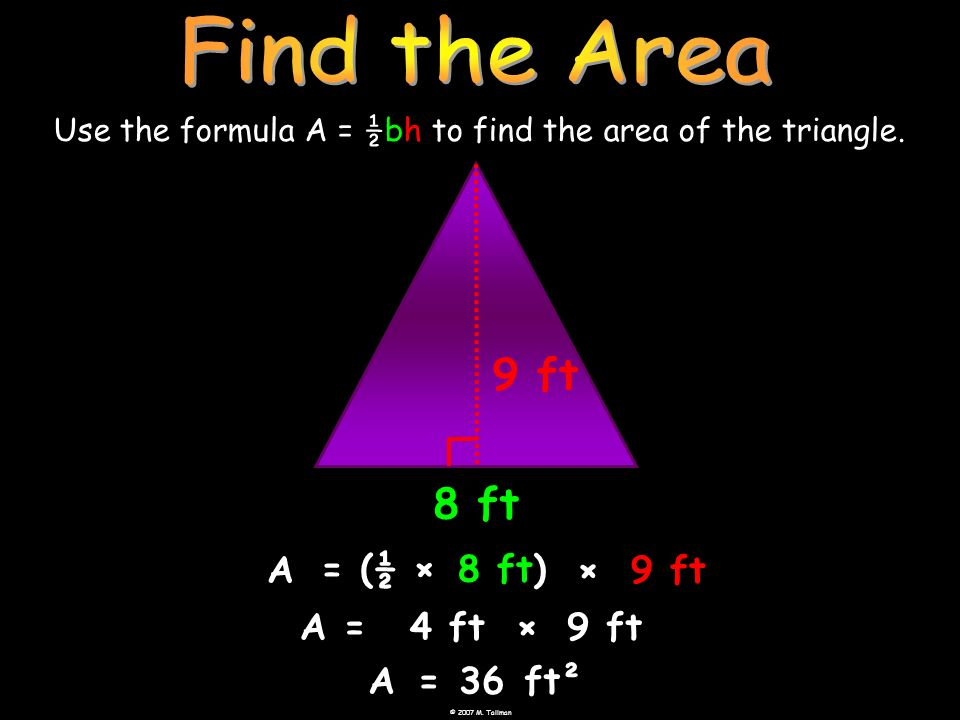 Use the formula A = ½bh to find the area of the triangle.