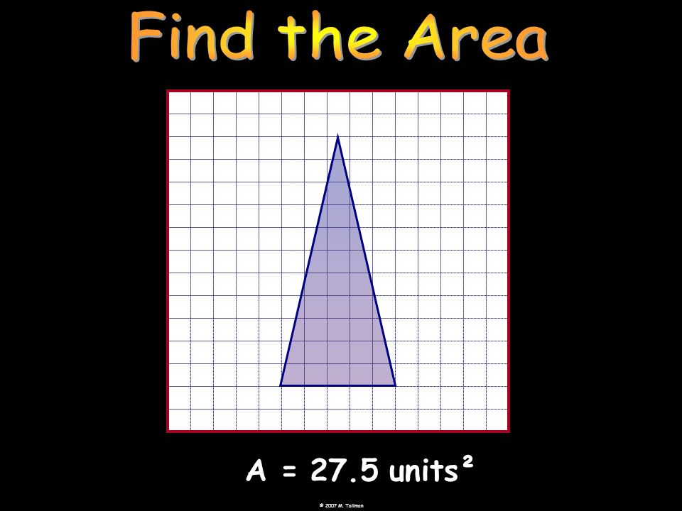 Find the Area A = 27.5 units²