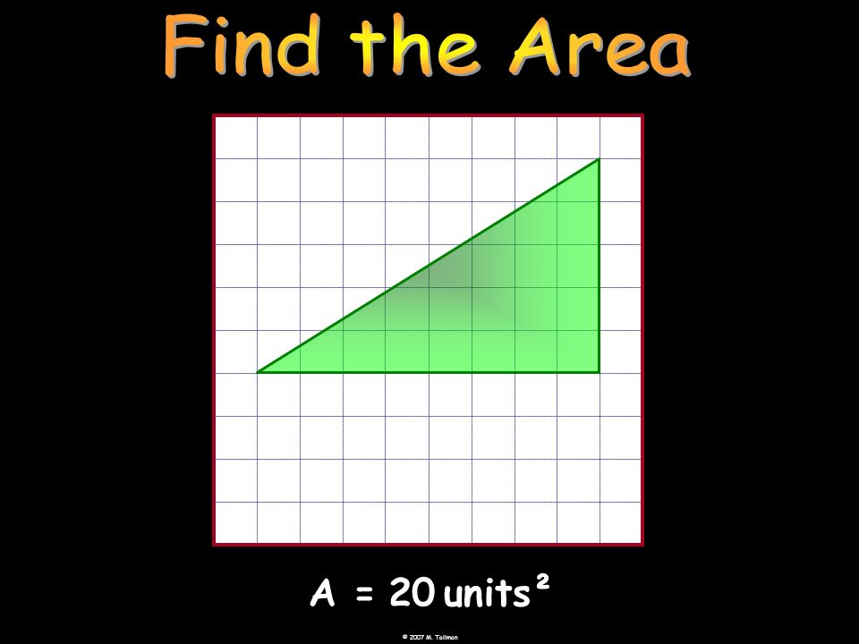 Find the Area A = 20 units²