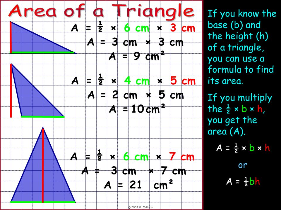 Area of a Triangle ½ A = × 6 cm × 3 cm A = 3 cm × 3 cm A = 9 cm² ½ A =