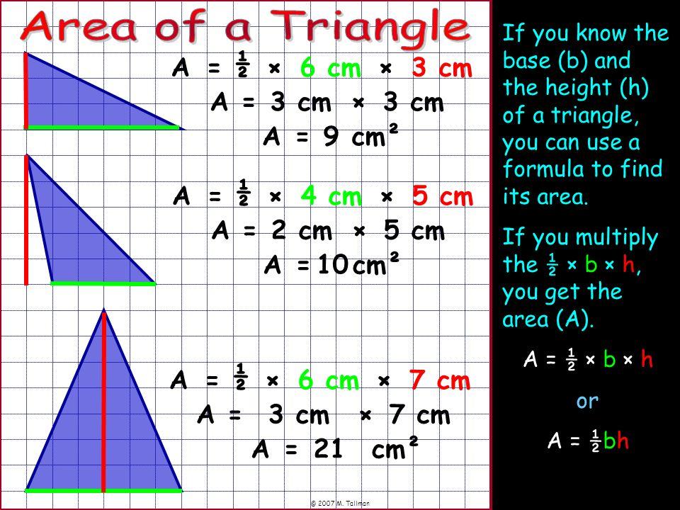 Area of a Triangle ½ A = × 6 cm × 3 cm A = 3 cm × 3 cm A = 9 cm² ½ A =