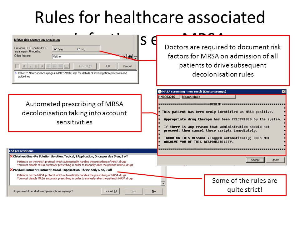 Rules for healthcare associated infections e.g. MRSA
