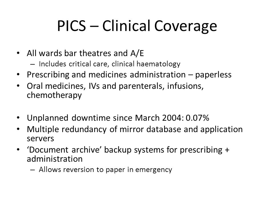 PICS – Clinical Coverage